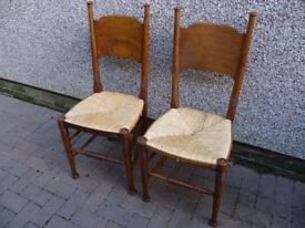 OAK original Arts and Crafts Dining Chairs-PAIR-by WILLIAM BIRCH
