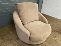 FABRIC CUDDLE SWIVEL ARMCHAIR IN GOOD CONDITION CAN DELIVER