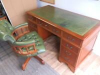 Reproduction Antique Style Leather Top Desk with matching Chesterfield Chair a truly fantastic set