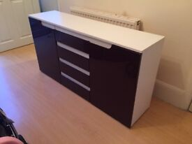 Side board unit/ cabinet white and purple