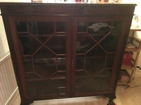 ANTIQUE GLASS FRONTED BOOKSHELF