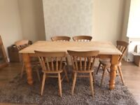 Solid wood farmhouse style dining table & 6 chairs