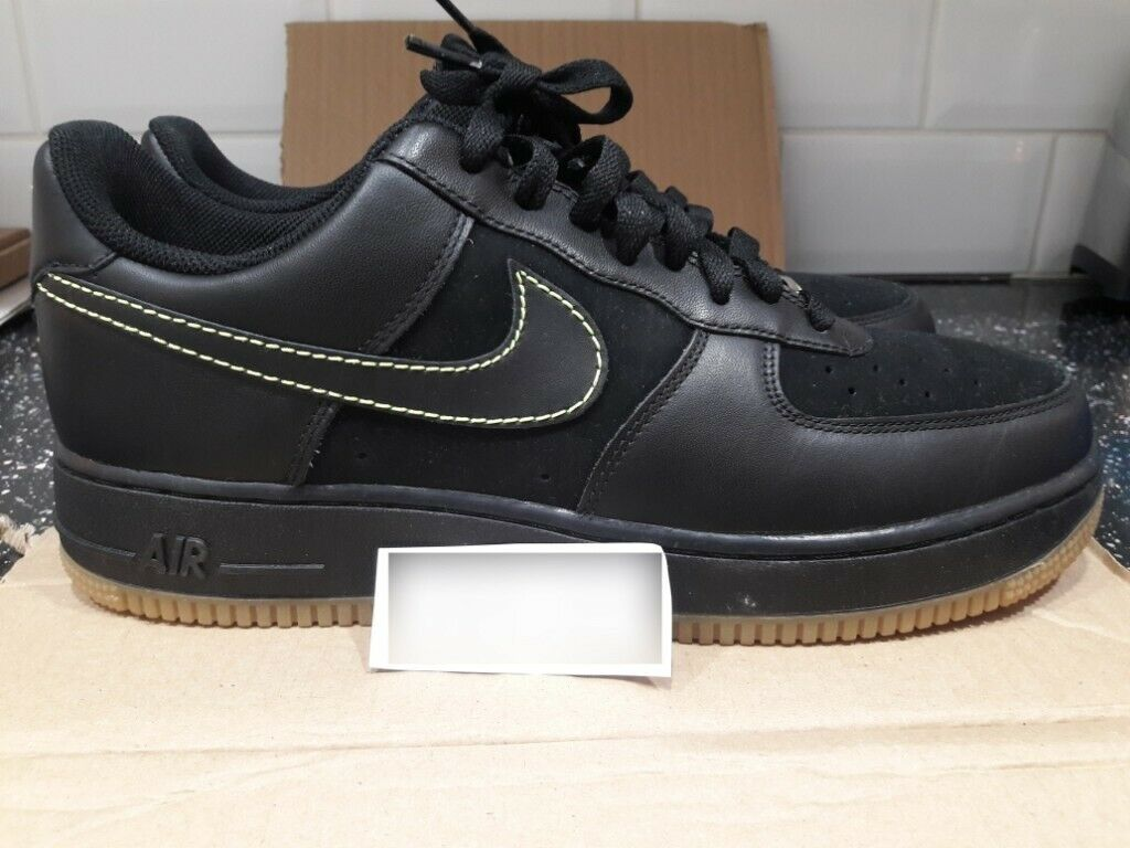 new concept b8a7f c3dc6 NEW GENUINE NIKE AIR FORCE 1 AF1 XXV 25TH ANNIVERSARY LOW UK9.5 BLACK NEON  GREEN