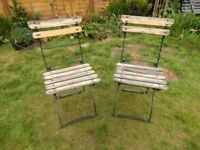HEAVY! Pair of 2 x Vintage Folding French Beer Garden Style Chairs Metal / Wood