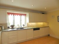 A full set of quality Ivory wood framed doors and wall and under top cupboard and appliances