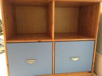Children's STOMPE storage unit- blue and pine