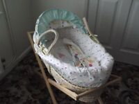 Mothercare baby moses basket with pine wooden stand