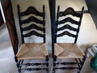 2 High backed wicker and wood chairs with gypsy styling