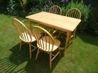 KITCHEN TABLE AND FOUR WINDSOR CHAIRS FOR SALE