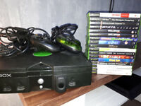 Original Xbox console, with 2 controllers and 17 games