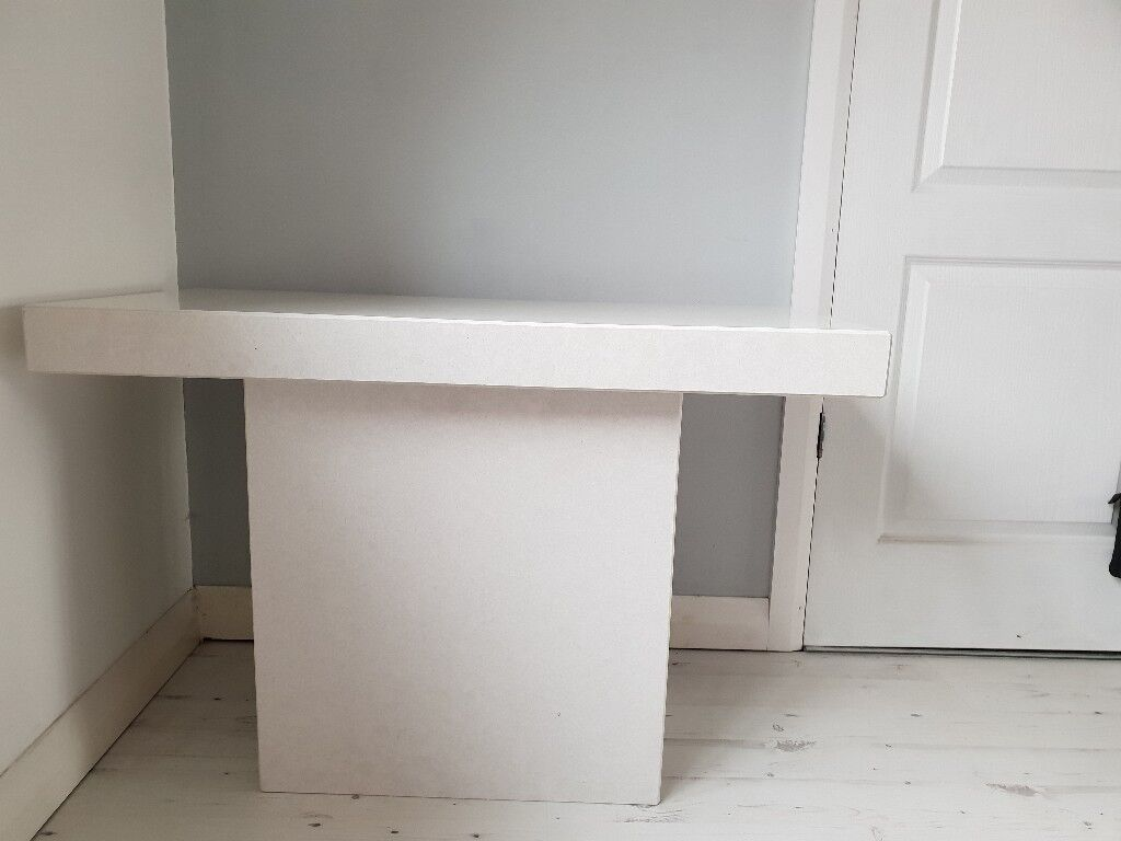 Solid White Marble Console Table