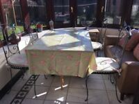 4 x wrought iron chairs with drop leaf table