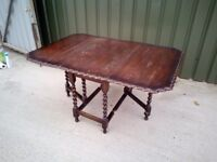 FREE DELIVERY, Solid Oak Drop Leaf Dining Table With Barley Twist Legs