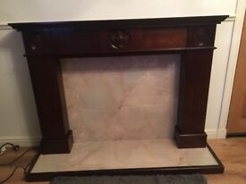 Dark Mahogany Wood Fireplace - Good Condition