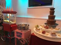 Popcorn and candy floss hire, chocolate fountain. Fruit palm tree, sweet cart, hotdogs waffles