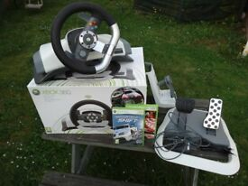 XBox360 Steering Wheel, Footpedals & Games
