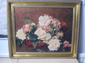 Picture, Roses various colours on canvas