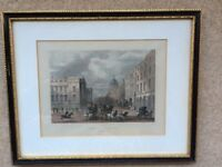 Vintage ENGRAVING General Post Office St. Martins le Grand; Framed Matted W/Glass