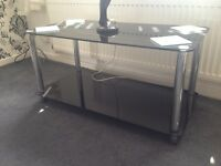 Black glass tv unit and coffee table