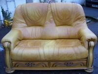2-seater tan leather sofa made by HIMA Belgium, leather suite, 2 seater couch