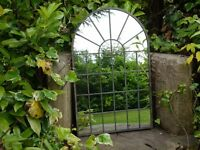 Metal Garden Vintage Style Rounded Metal Arch Mirror - NEW