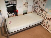 Single metal bed with good quality mattress