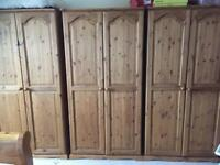 3 Double Solid Pine Wardrobes