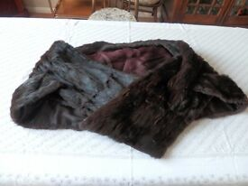 Vintage dark brown fur stole