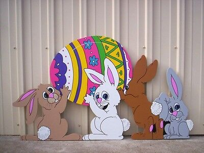 Used, BUNNIES PACKIN' EGG  Easter Yard  Art Decoration for sale  Shipping to Canada
