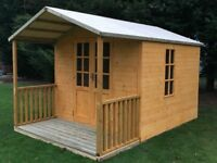 SUMMER HOUSE 12ft x 8ft, OFFICE BAR GARDEN SHED WITH VERANDA AND CANOPY, QUALITY TIMBER