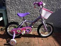 Nearly new Apollo bike with basket and stabilisers (approx age 3-5)