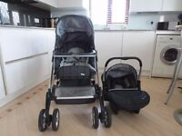 Silver Cross Linear Freeway Pram Travel Sys 3 In 1,Chassis, Pushchair Body, Ventura Infant Car Seat