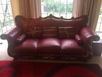 Red Leather 3 Seater sofas with leather cushions