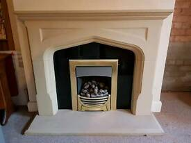 Stone marble fireplace surround & hearth with black quarz/granite back panel