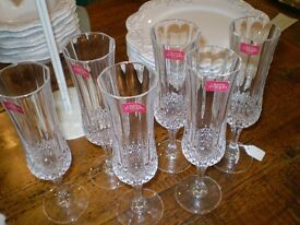 Set of 6 Cut Crystal Glass Champagne Flutes