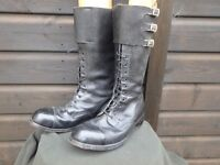 Mens leather retro style biker boots size 12 possibly police or service issue made in 1970