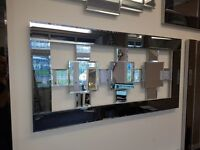 Wall Mirror - Stunning 17 piece 'Caspian' Grey tinted & Silver bevelled 1200mm x 600mm *£195.00*