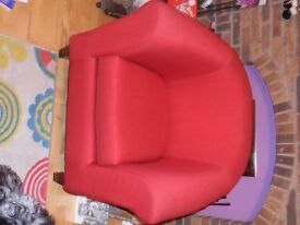 Red m&s tub chair like new.