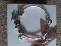 Pandora Bow Bangle with beautiful white and gold charms BARGAIN worth over £500