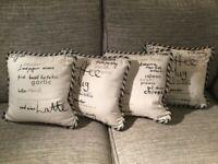 Cushions, 4 Handmade Cushions in black & grey, off-white background