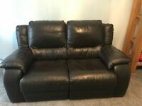 Brown leather electric reclining settee