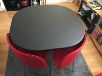 Hygena Amparo Black Dining Table & 4 Chairs - Red