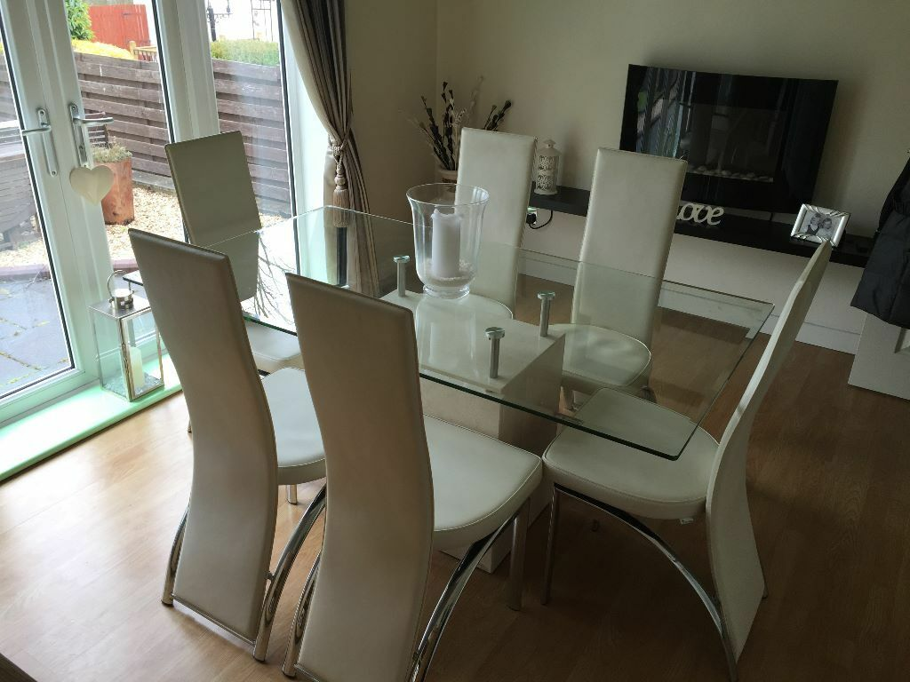 Italian Marble Glass Dining Table 6 Cream Leather Chairs