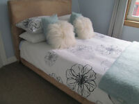 LOVELY TAN SUEDE DOUBLE BED FRAME (WITH SLATTED BASE)