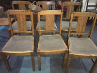 Gorgeous Set of 6 Vintage Art Deco Solid Oak Carved Back Dining Chairs