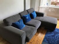 Large L shaped Sofa in GREY