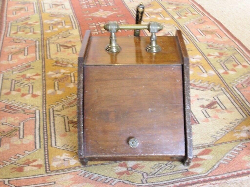 Antique Wood Coal Scuttle, Mahogany with brass fittings and shovel