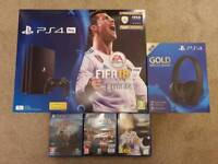 PS4 Pro 1TB with Sony GOLD wireless headset (New version) and God of War 2018, FIFA 18 and Far Cry 5