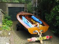 ENTERPRISE SAILING DINGHY, WOODEN, SAIL NUMBER 19308, VERY GOOD CONDITION, WITH COMBI TRAILER