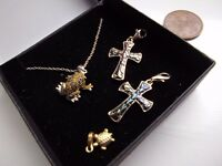Three silver items + one 18ct gold, pendants jewellery. Swindon £110